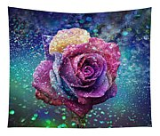 Rainbow Rose In The Rain Tapestry