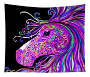 Rainbow Spotted Horse Head 2 Tapestry