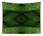 Raindrops On Green Leaves Collage Tapestry