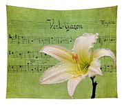 Raindrops On Lily Tapestry
