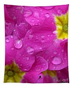 Raindrops On Pink Flowers Tapestry