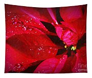 Raindrops On Red Poinsettia Tapestry