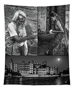 Rajasthan Collage Bw Tapestry
