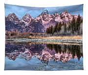 Grand Teton Snow Capped Reflections Tapestry