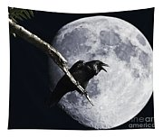 Raven Barking At The Moon Tapestry