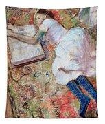 Reader Lying Down Tapestry