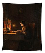 Reading By Candlelight Tapestry