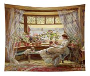 Reading By The Window Tapestry