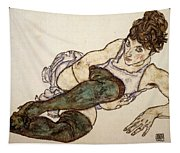 Reclining Woman With Green Stockings Tapestry