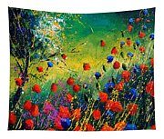 Red And Blue Poppies  Tapestry