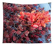 Red And Burgundy Succulent Plants Tapestry