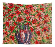Red And Pink Poppies. Tapestry
