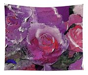 Red And Violet Roses Tapestry