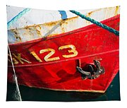 Red And White Boat Detail Tapestry