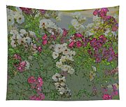 Red And White Roses  Medium Toned Abstract Tapestry