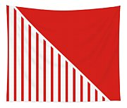 Red And White Triangles Tapestry