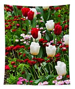 Red And White Tulips With Red And Pink English Daisies In Spring Tapestry