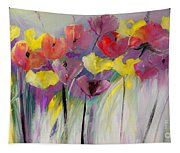 Red And Yellow Floral Field Painting Tapestry