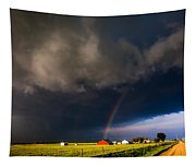 Red Barn And Rainbow Tapestry