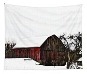 Red Barn In Snow Tapestry