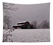 Red Barn Under Snow Tapestry