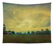 Red Barn Under Stormy Skies Tapestry