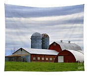Red Barns Of 3 Tapestry