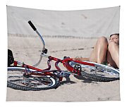 Red Bike On The Beach Tapestry