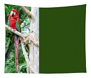 Red Bird And Pink Flowers Tapestry