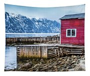 Red Boathouse In Norris Point, Newfoundland Tapestry