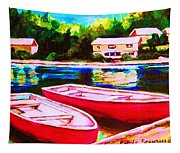 Red Boats At The Lake Tapestry