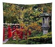 Red Bridge & Japanese Lantern, Autumn Tapestry