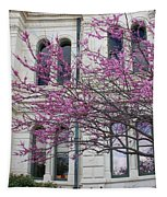 Red Buds And San Antonio City Hall Tapestry