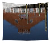 Red Building Reflection Tapestry