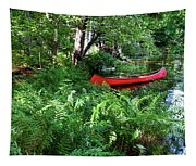 Red Canoe In The Adk Tapestry