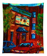 Red Car Blue Sky Tapestry