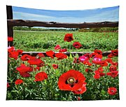 Red Corn Poppies At The Fence Tapestry