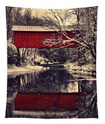 Red Covered Bridge In Winter Tapestry