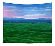 Red Dawn Over The Palouse Tapestry