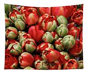 Red Elegant Blooming Tulips  Tapestry