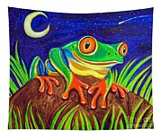Red-eyed Tree Frog And Starry Night Tapestry