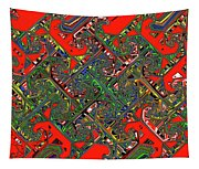 Red Five Wave Abstract Tapestry