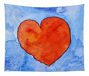 Red Heart On Blue Tapestry