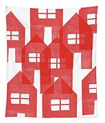 Red Houses- Art By Linda Woods Tapestry