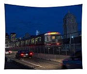 Red Line Train Rumbling Over The Longfellow Bridge In Boston Ma Tapestry