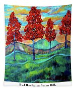 Red Maples On Green Hills With Name And Title Tapestry