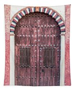Red Medieval Wood Door Tapestry