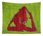 Red Nude Yoga Girl Tapestry