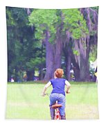 Red On Her Bike Tapestry