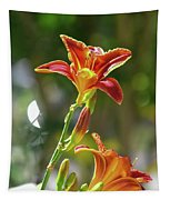Red Orange Day Lilies I Tapestry